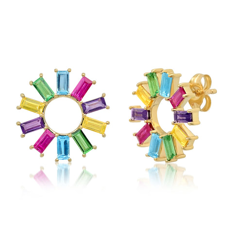 Eriness Jewelry Multi Colored Baguette Flower Studs