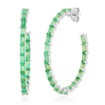 Eriness Jewelry Emerald Baguette Hoops