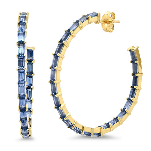 Eriness Jewelry Blue Sapphire Baguette Hoops