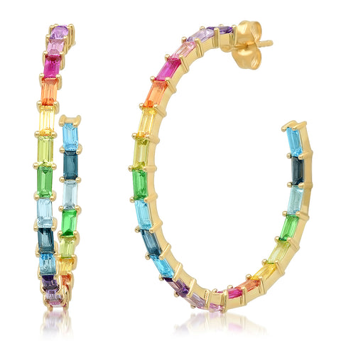 Yellow Gold Rainbow Baguette Hoops