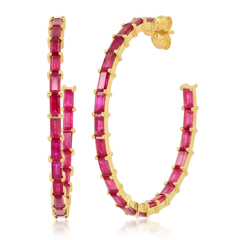 Eriness Jewelry Ruby Baguette Hoops
