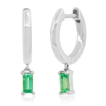 Eriness Jewelry Huggies with Emerald Baguette Drop