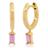 Eriness Jewelry Huggies with Pink Sapphire Baguette Drop