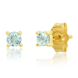 Yellow Gold Aquamarine Studs
