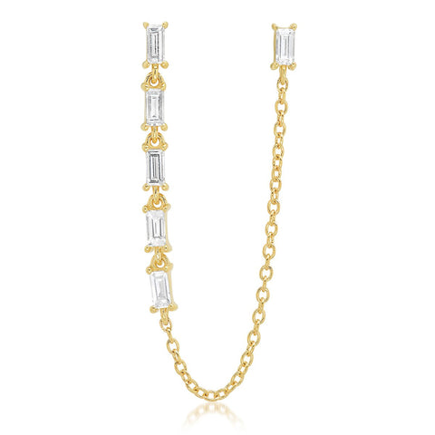 Yellow Gold Diamond Baguette Link and Chain Stud