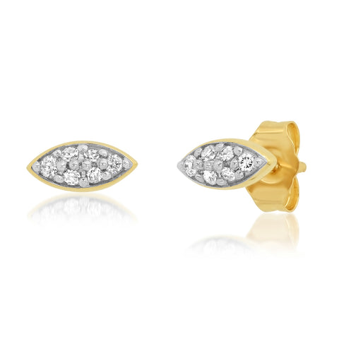 Yellow Gold Diamond Evil Eye Studs