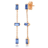Rose Gold Blue Sapphire Baguette and Chain Drop Earrings