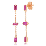 Rose Gold Ruby Baguette and Chain Drop Earrings