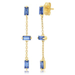 Yellow Gold Blue Sapphire Baguette and Chain Drop Earrings