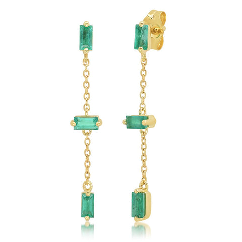 Yellow Gold Baguette and Chain Drop Earrings