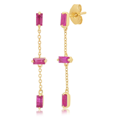 Yellow Gold Ruby Baguette and Chain Drop Earrings
