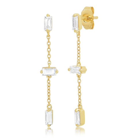 Yellow Gold Diamond Baguette and Chain Drop Earrings