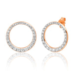 14K Rose Gold Asymmetrical Diamond Loop Earrings