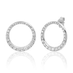 14K White Gold Asymmetrical Diamond Loop Earrings
