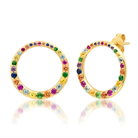 14K Yellow Gold Asymmetrical Multi Colored Loop Earrings