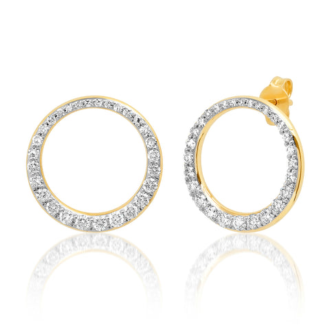 14K Yellow Gold Asymmetrical Diamond Loop Earrings