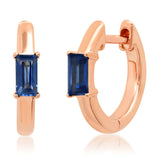 14K Rose Gold Stationary Blue Sapphire Baguette Huggies