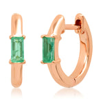 14K Rose Gold Stationary Emerald Baguette Huggies