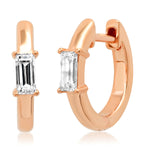 14K Rose Gold Stationary Diamond Baguette Huggies