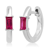 14K White Gold Stationary Ruby Baguette Huggies