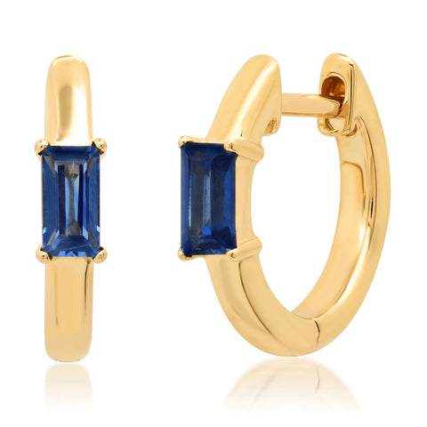 14K Yellow Gold Stationary Blue Sapphire Baguette Huggies