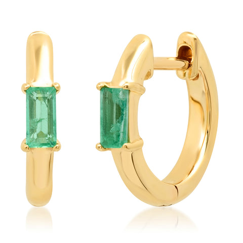 14K Yellow Gold Stationary Emerald Baguette Huggies