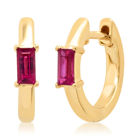 14K Yellow Gold Stationary Ruby Baguette Huggies