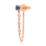 14K Rose Gold Single Blue Sapphire Stud with Diamond Chain