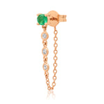 14K Rose Gold Single Emerald Stud with Diamond Chain