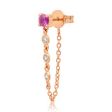 14K Rose Gold Single Ruby Stud with Diamond Chain