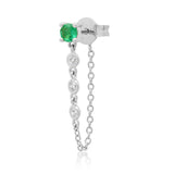 14K White Gold Single Emerald Stud with Diamond Chain