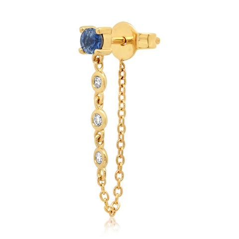 14K Yellow Gold Single Blue Sapphire Stud with Diamond Chain