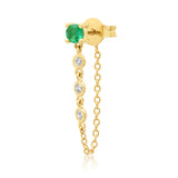 14K Yellow Gold Single Emerald Stud with Diamond Chain