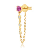14K Yellow Gold Single Ruby Stud with Diamond Chain