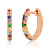 14K Rose Gold Standard Multi Colored Huggie