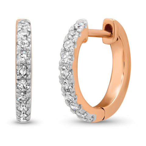 14K Rose Gold Standard Diamond Huggies