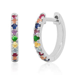 14K White Gold Standard Multi Colored Huggie