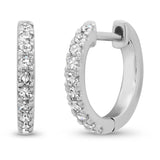 14K White Gold Standard Diamond Huggies