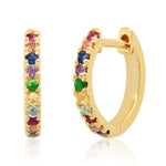 14K Yellow Gold Standard Multi Colored Huggie