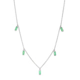 14K White Gold Emerald Baguette Necklace