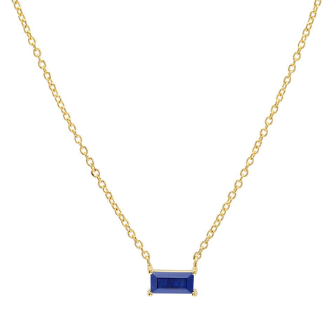 Yellow Gold Blue Sapphire Solitaire Necklace