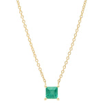 Eriness Jewelry Emerald Solitaire Necklace