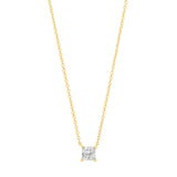 Yellow Gold Diamond Square Solitaire Necklace