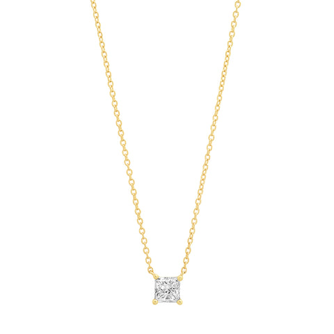 Eriness Jewelry Diamond Square Solitaire Necklace