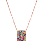 Rose Gold Multi Colored Cluster Necklace