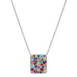 White Gold Multi Colored Cluster Necklace