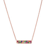 Rose Gold Multi Colored Staple Necklace
