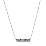 White Gold Multi Colored Staple Necklace