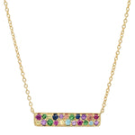 Yellow Gold Multi Colored Staple Necklace