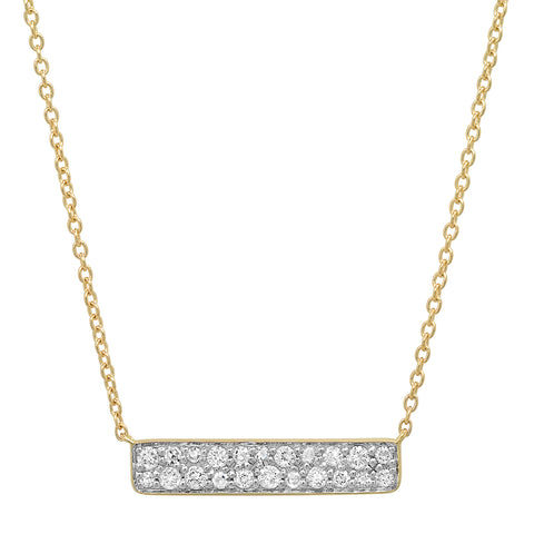 Yellow Gold Diamond Staple Necklace